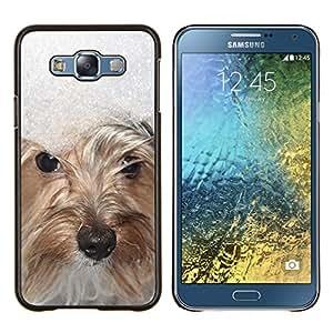 KLONGSHOP // Cubierta de piel con cierre a presión Shell trasero duro de goma Protección Caso - Invierno Nieve West Highland White Terrier - Samsung Galaxy E7 E700 //