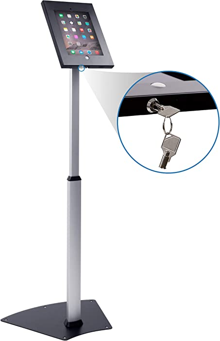Mount-It! Secure Floor Stand for iPad   Height Adjustable iPad Floor Stand   Fully Adjustable Check-in Stand for iPad   Anti-Theft Tablet Floor Stand for iPad 9.7 (MI-3783)