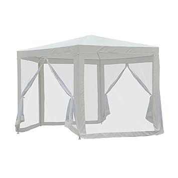 Outsunny Tonnelle Barnum Tente de réception hexagonale 10 m² Style Cosy  métal Polyester imperméabilisé écru Blanc