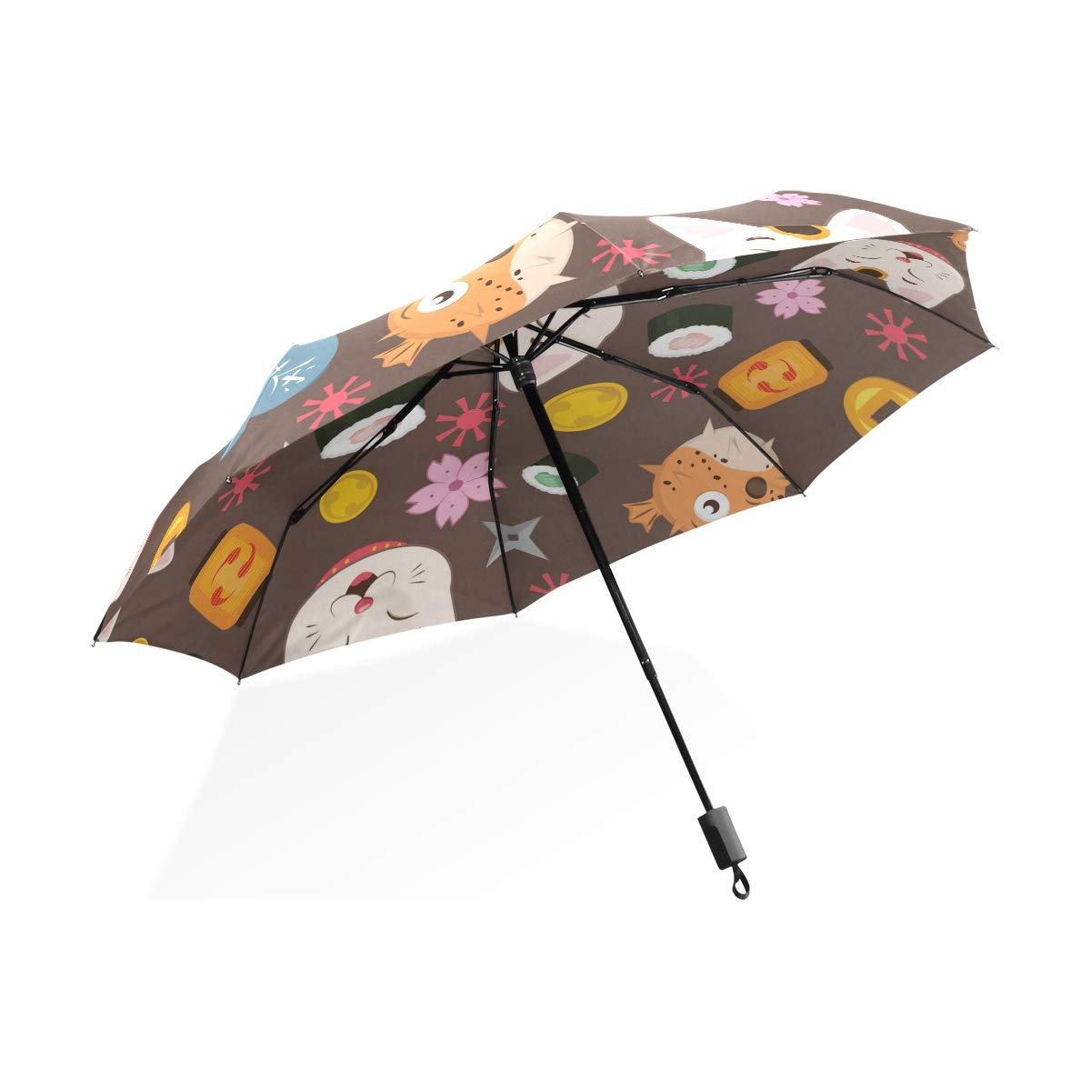 Isaoa Automatique Voyage Parapluie Pliable Compact Parapluie Japonais Elements Coupe-Vent Ultra lé ger Protection UV Parapluie pour Homme ou Femme 001