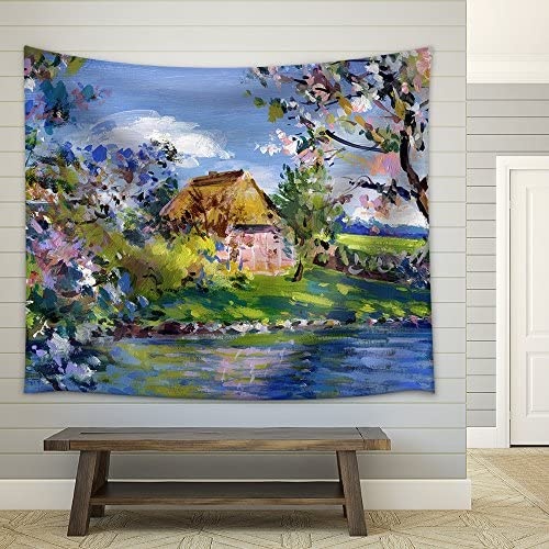 Spring Motif Painting Landscape in Lower Saxony Oil Paints on Acrylics Fabric Wall