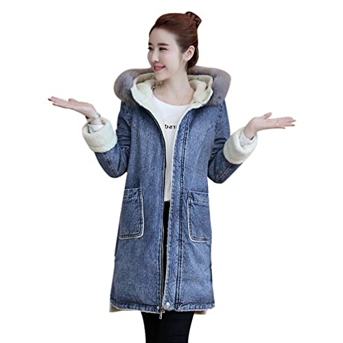 YuanDian Mujer Invierno Baggy Chaqueta Jeans Denim Con Capucha Espesar Cálido Abrigo Plus Terciopelo