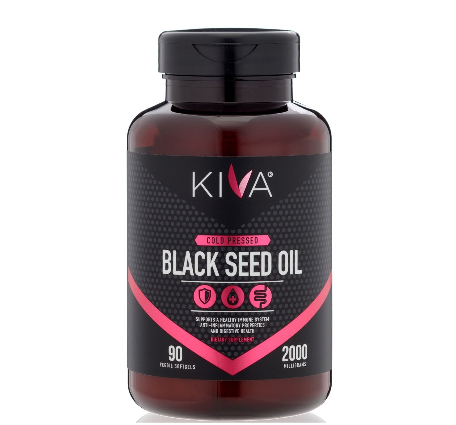 Kiva Black Seed Oil Capsules - Organic, Cold-pressed and RAW (90 Softgels)