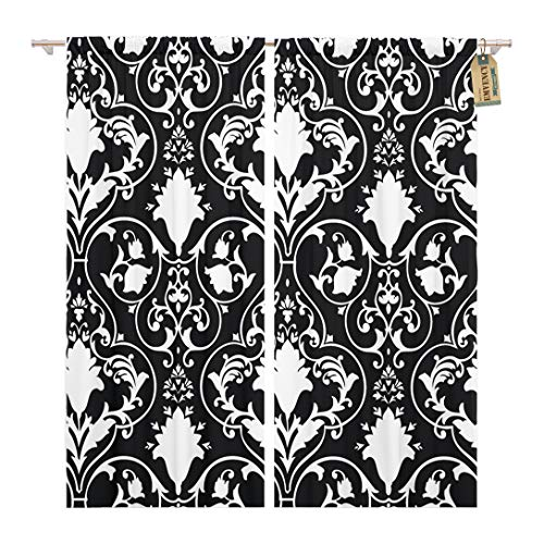 Golee Window Curtain Fleur Antique Scroll Lis Black White Damask Pattern Abstract Home Decor Rod Pocket Drapes 2 Panels Curtain 104 x 63 inches
