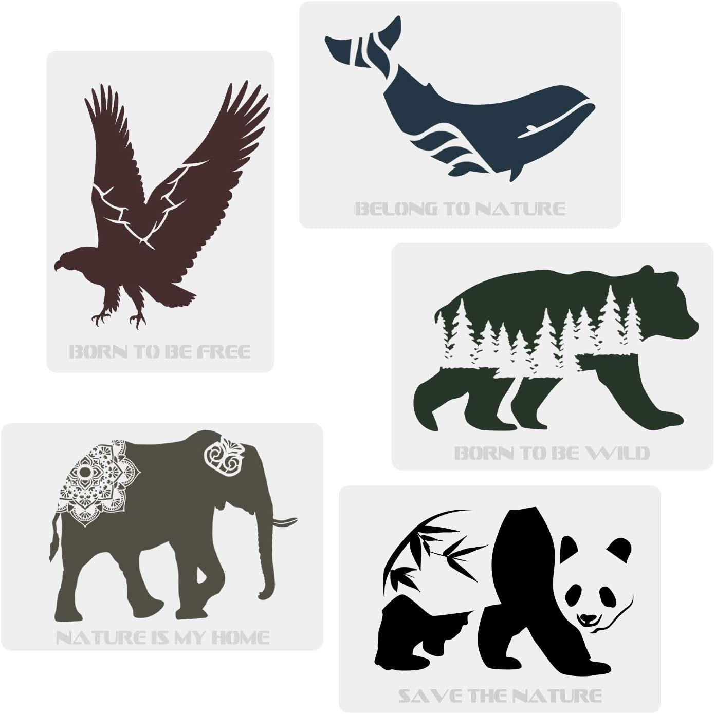 CODOHI 5 Packs Wild Animals Stencils - Bear Panda Whale Eagle Elephant Words Nature Animals Stencils A4 Art Reusable Mylar Template for Journaling DIY Wall Wood Fabric Home Decor 11.7