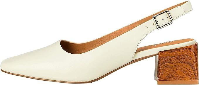 Marca Amazon find. Square Toe Block Heel Slingback Zapatos de tacón con punta cerrada Mujer