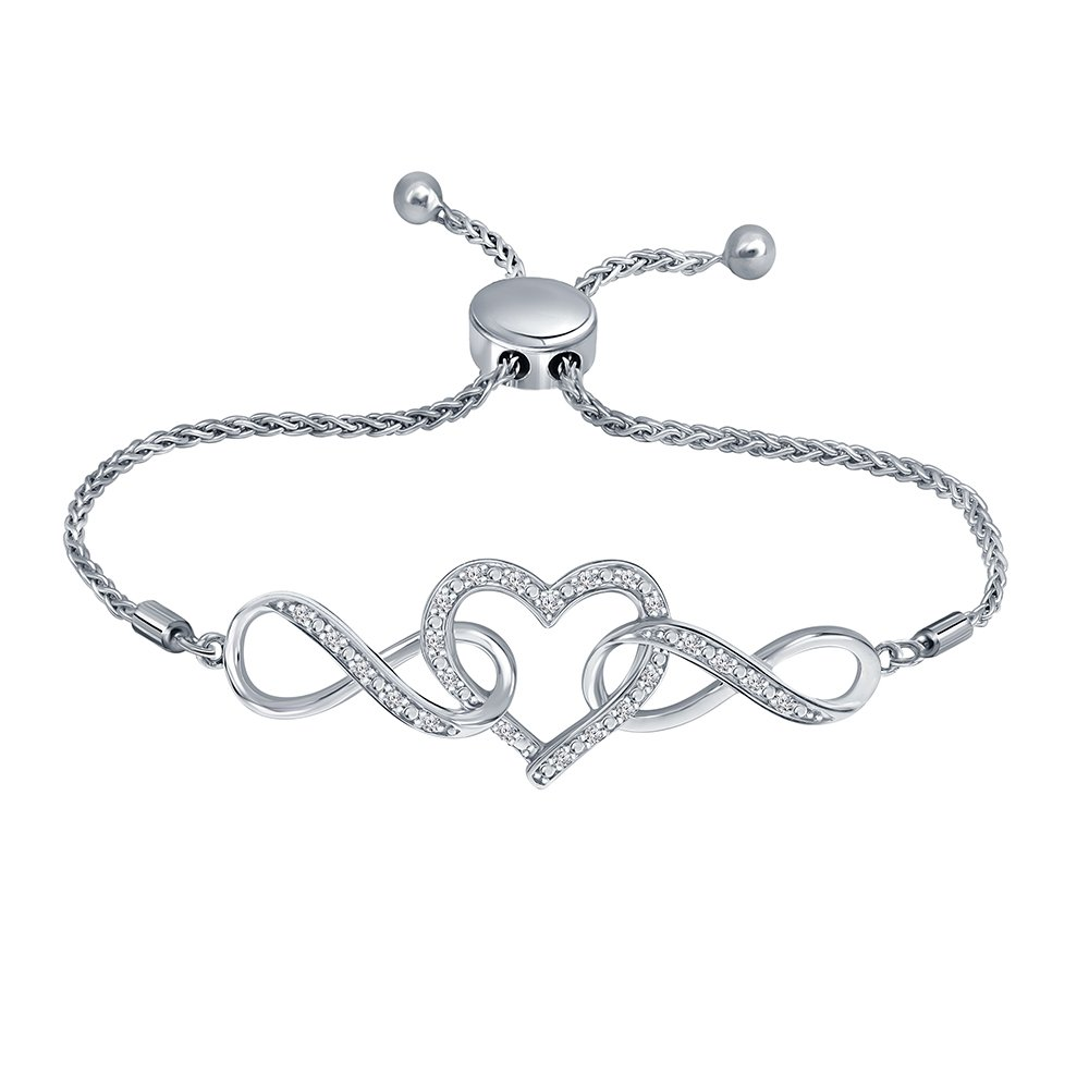 1/7ct Round White Diamond Sterling Silver Adjustable Infinity Heart Strand Bolo Bracelet For Women Teens by La Joya