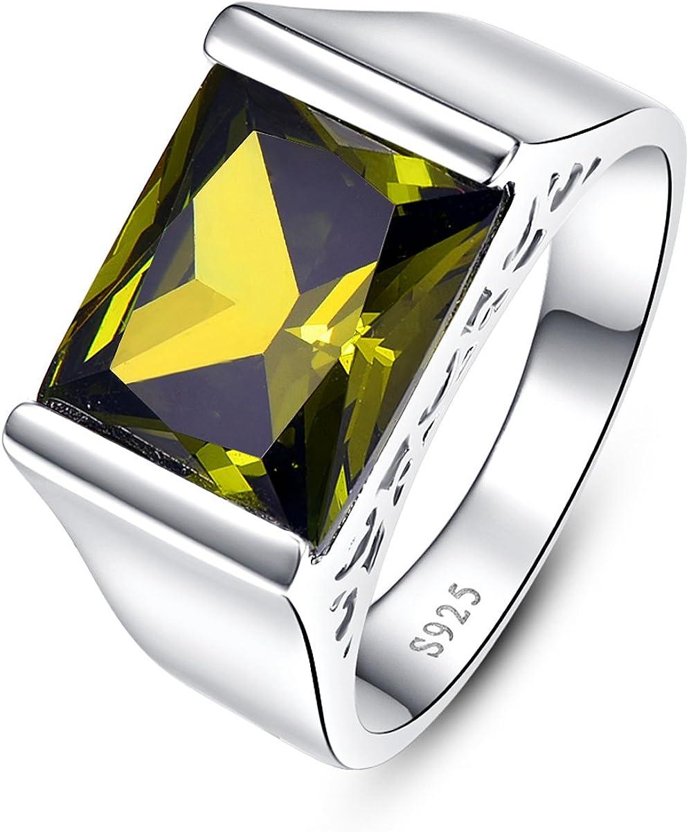 Bonlavie 10.55 Ct Emerald Cut Created Green Peridot 925 Sterling Silver Mens Wedding Band Ring