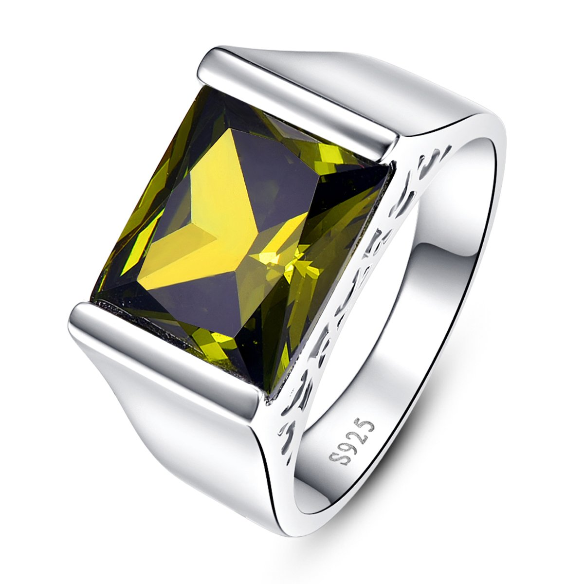 BONLAVIE Hollow Side Solid 925 Sterling Silver Fine Created Green Peridot Ring for Men and Women Unisex Size 8