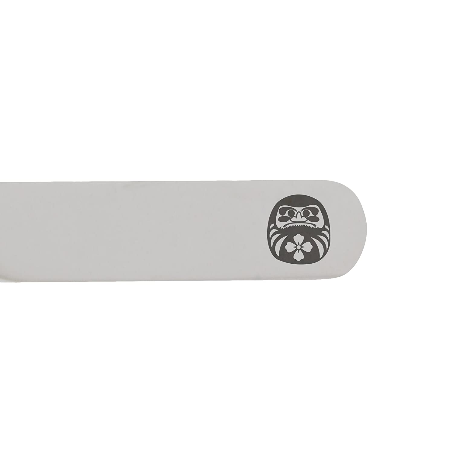 MODERN GOODS SHOP Stainless Steel Collar Stays With Laser Engraved Daruma Doll Design 2.5 Inch Metal Collar Stiffeners Made In USA