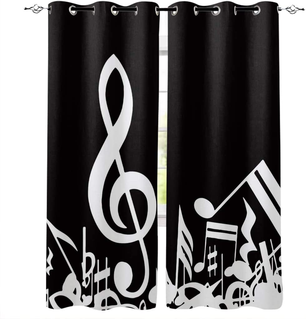 Thermal Insulated Curtains 40x84 inch Set of 2 Panels Music Decor Room Darkening Curtains, Thermal Grommet Light Blocking Window Curtains for Bedroom Living Room - Music Notes Artwork