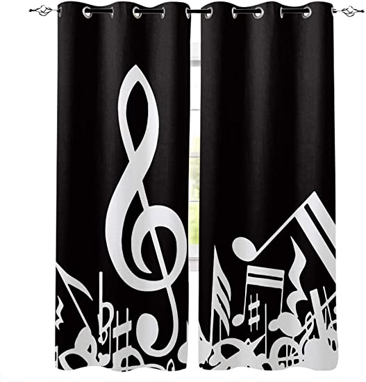 Thermal Insulated Curtains 52x84 inch Set of 2 Panels Music Decor Room Darkening Curtains