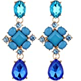 Yazilind Waterdrop Oval Flower Shape Multi Blue Crystal Gold Plated All-Match Dangle Earrings