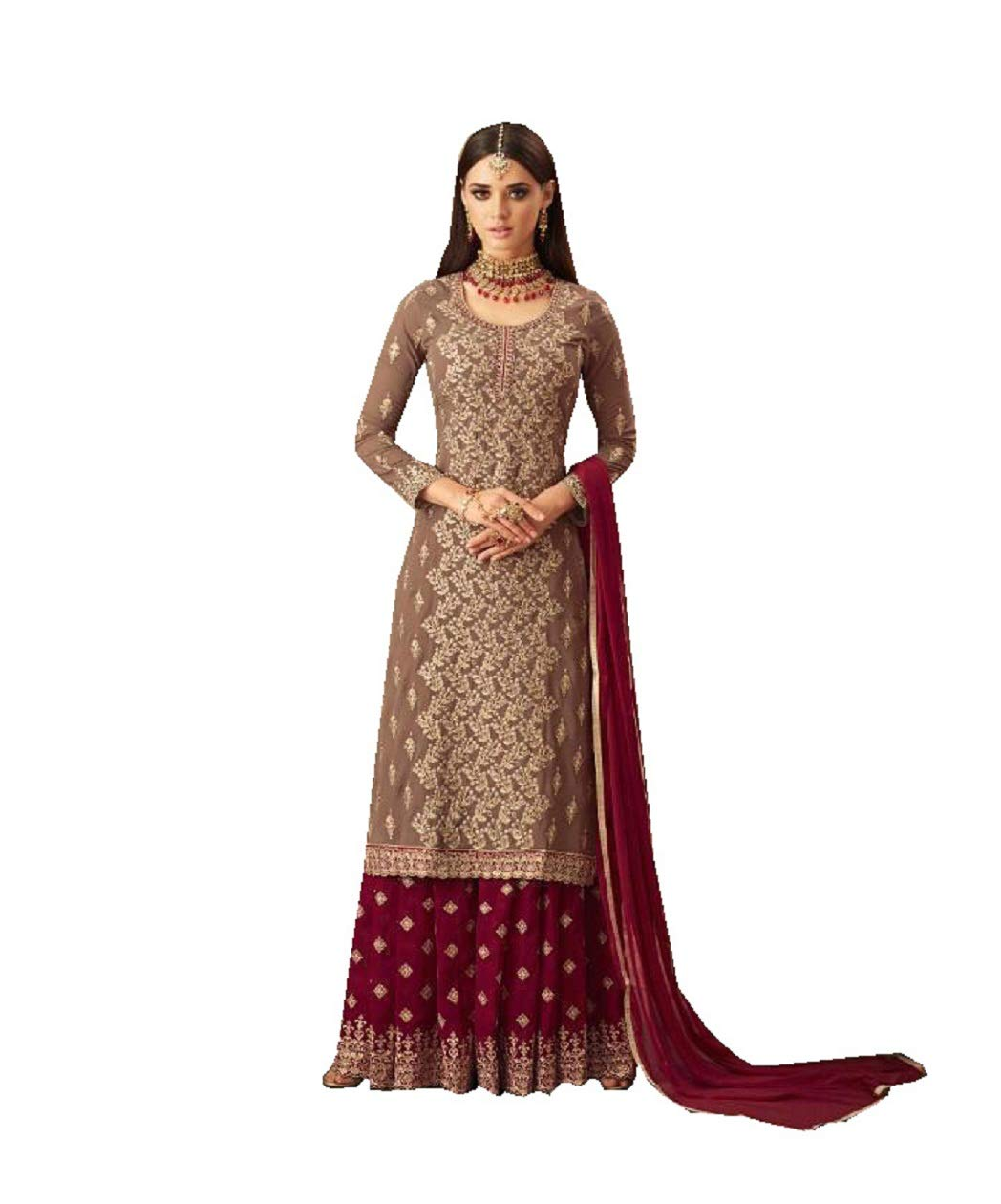 Ethnic wear Readymade Indian/Pakistani Georgette Palazzo Salwar Kameez 57004 (Red, XS-36)
