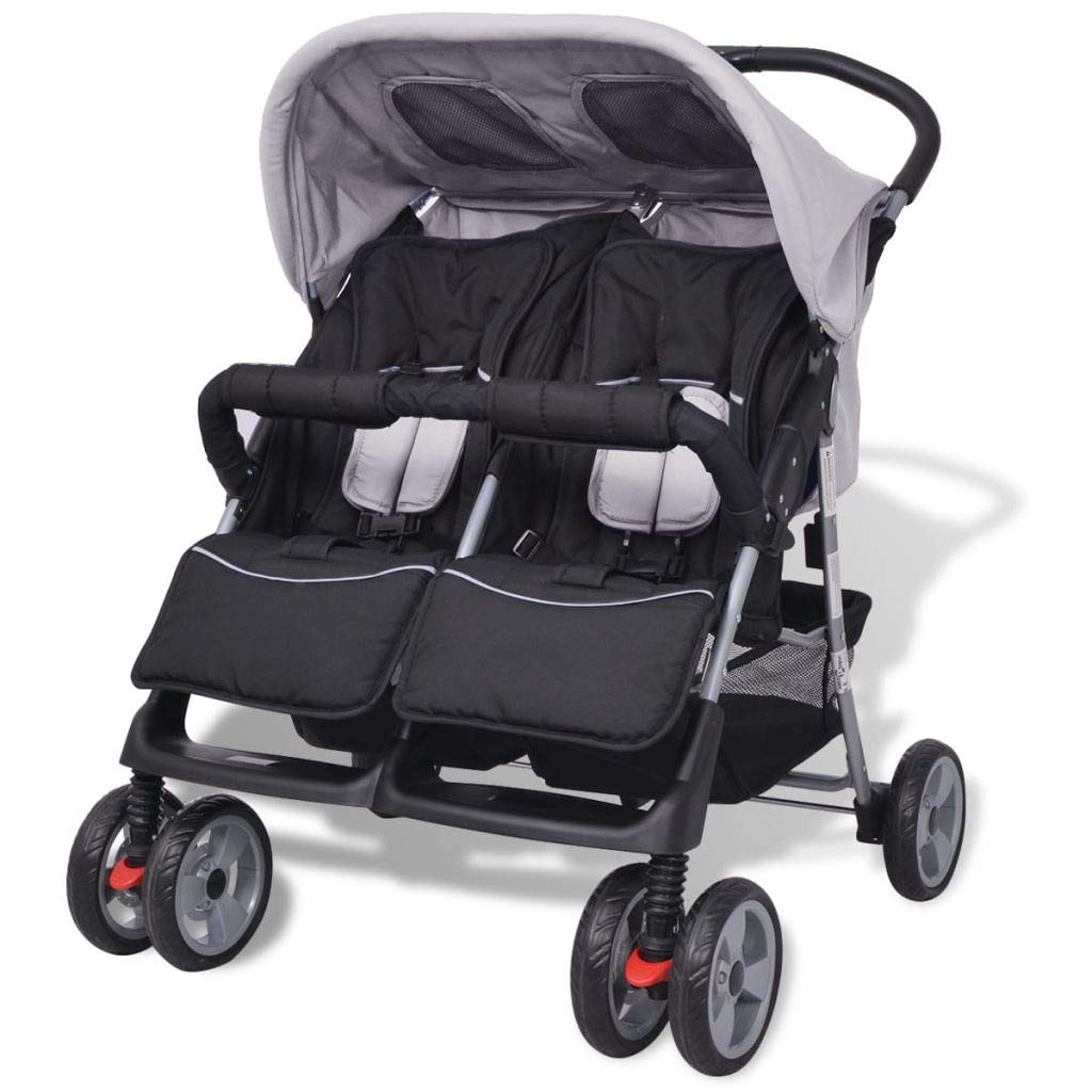 vidaXL Baby Twin Stroller Steel Grey and Black