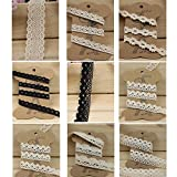 Set of18 yards assorted styles Flat Cotton Lace Ribbon Trim DIY Crafts Ribbon Bows