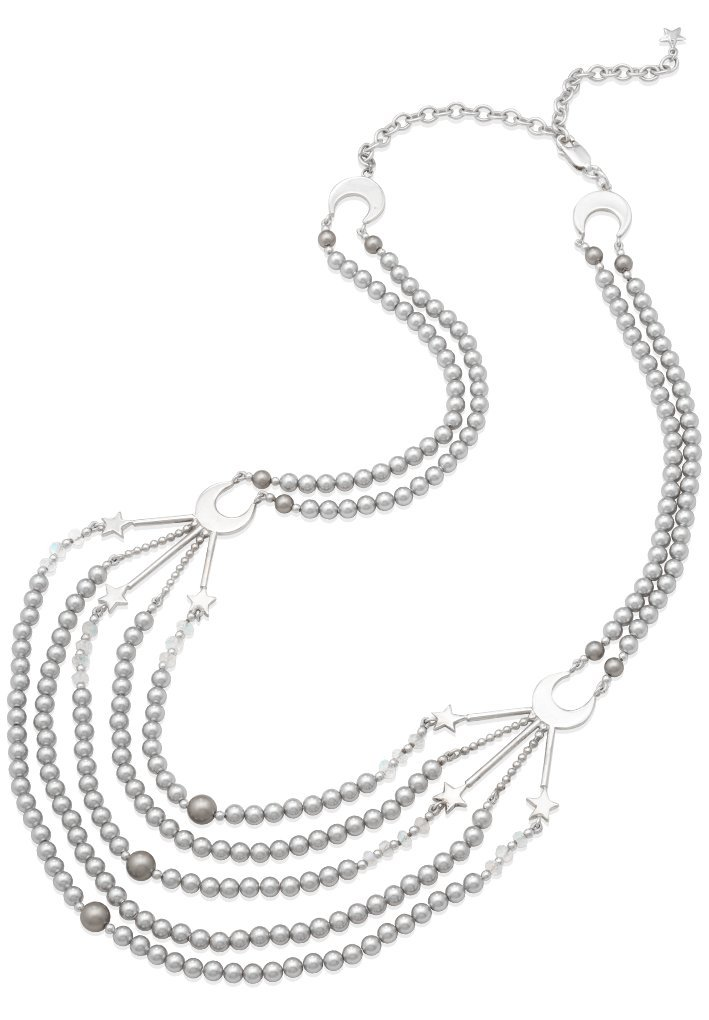 Mignon Faget Crescent Bib Statement Necklace Sterling Silver with Swarovski Pearls, 21 1/2''