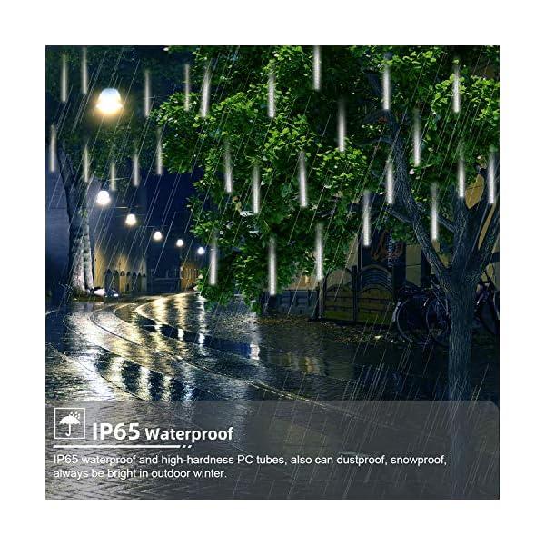 GPODER Doccia Pioggia Luci 30CM, 8 Impermeabile Tubo Luci della Pioggia di Meteore, 288 LEDs Waterfall Light per Natale/Esterno/Albero/Casa/Giardino/All'Aperto Decorazione(Bianco) 2 spesavip