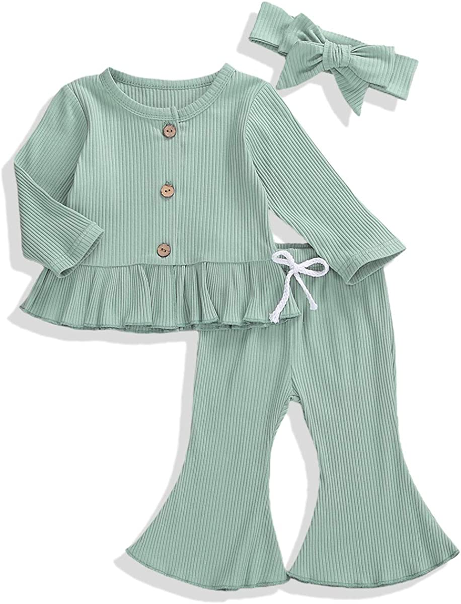 Newborn Baby Girl Ribbed Fall Clothes Set Long Sleeve Romper+Flare Pants  Outfits