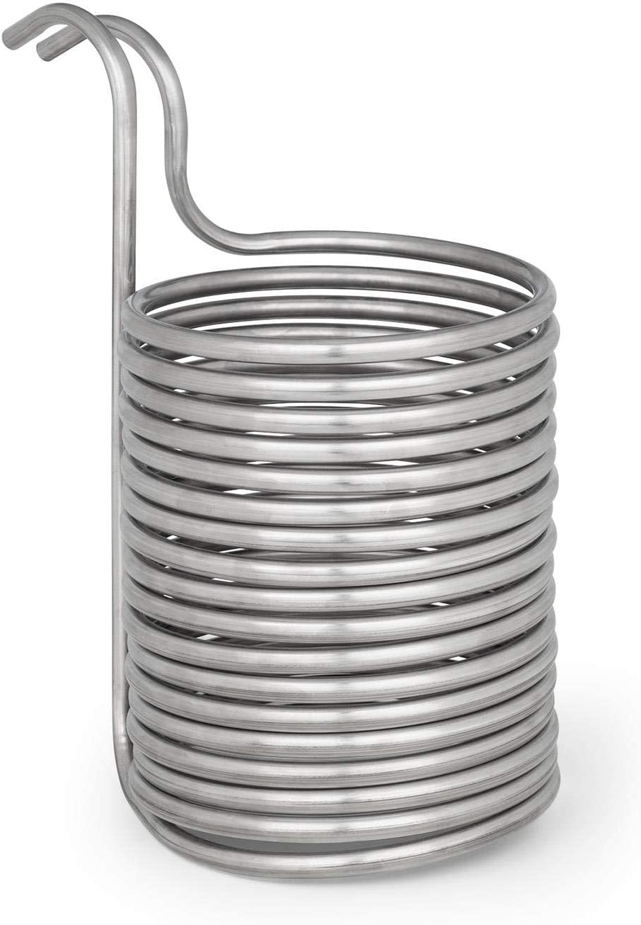Klarstein Chiller 12 disipador de calor - Enfriador en espiral del mosto de cerveza, 21,5 cm Ø, Espiral de 18 vueltas, De 100 °C a temperatura ambiente en 30 min, Acero 304, Plateado