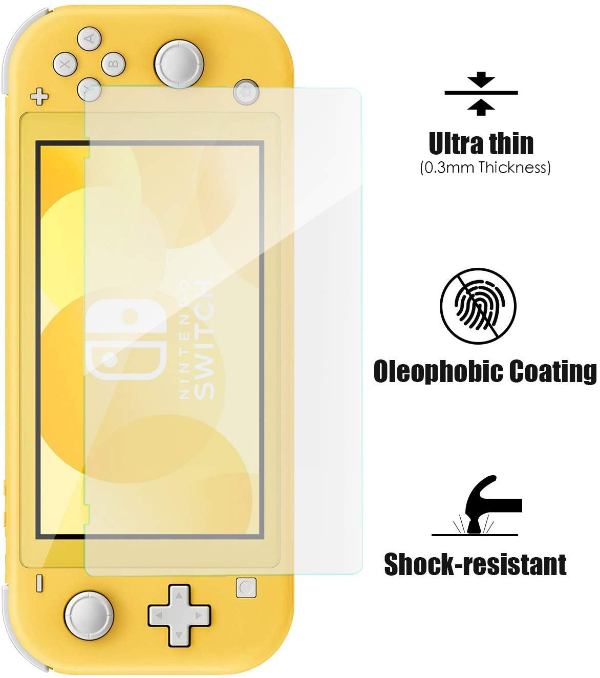 [3 Pack] Tempered Glass Screen Protector for Nintendo Switch Lite, Bubble Free/Anti Scratch/HD Clear, Glass Film Screen Protector for Switch Lite