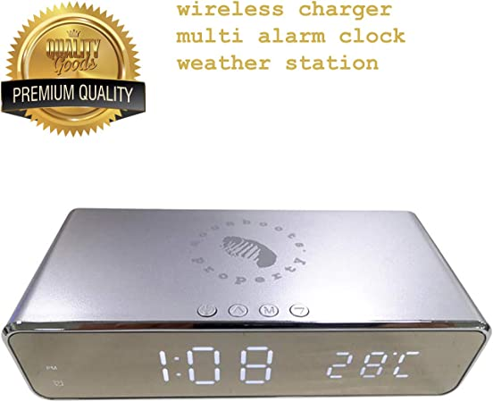 Moonboots Property Professional Multi Function Alarm Clock with Qi 3.0 Wireless Charger and Thermometer Portable LED Digital Display Mini Digital