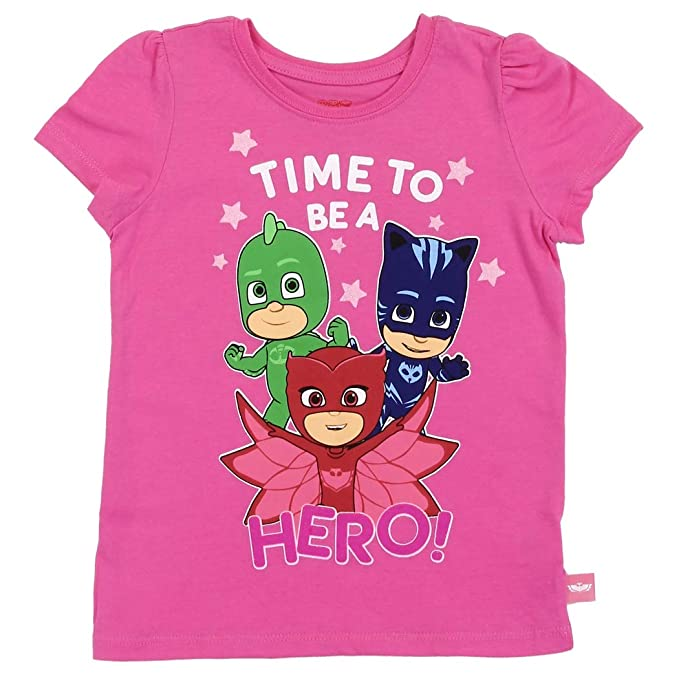 9b93b4f07 PJ Masks Toddler Little Girls Time to be a Hero Short Sleeve Shirt (Pink,