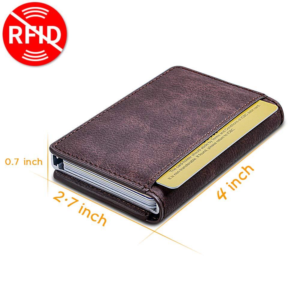 Portefeuille de Carte Anti-RFID et NFC Scan Protecteur de Cartes bancaires Support Max 9 Carte pour Homme et Femme Brun Bojly Porte-Cartes de Cr/édit 2 Etuis Antivol en Aluminiumen et PU