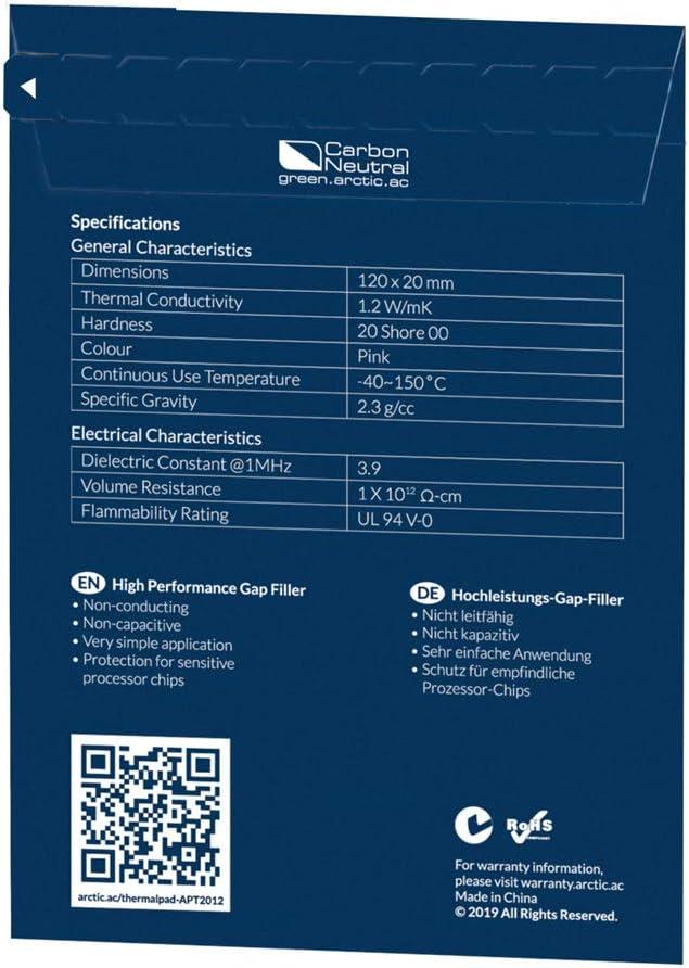 Bleu Conductivit/é Thermique Efficace 290 x 290 x 1,0 mm ARCTIC Thermal Pad Comble les Interstices Facile /à Appliquer /& Manipuler - Pad Silicone