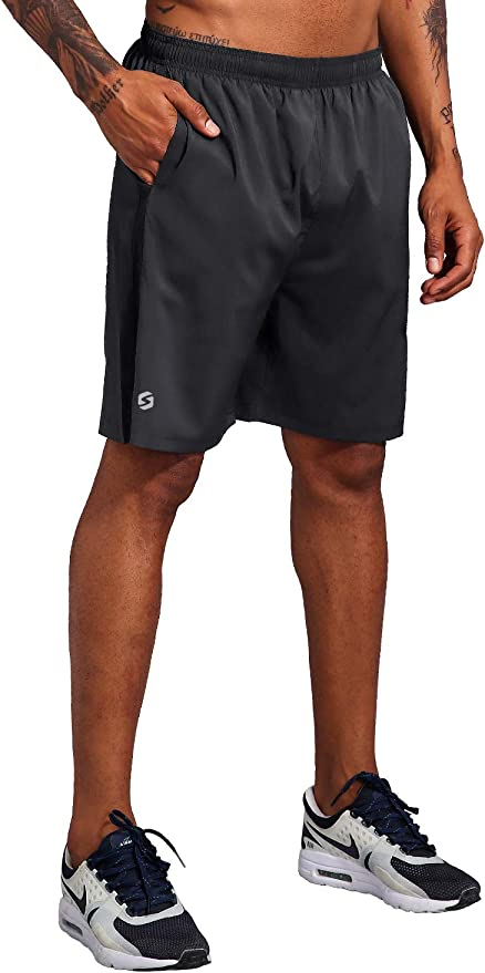 Priessei Mens 7 Workout Running Shorts Athletic Lightweight Gym Shorts with Zip Pockets