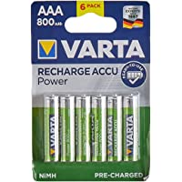 Varta 56703 Oplaadbare Accu Power voorgeladen AAA Micro Ni-Mh accu (verpakking met 6 stuks, 800mAh), oplaadbaar zonder…