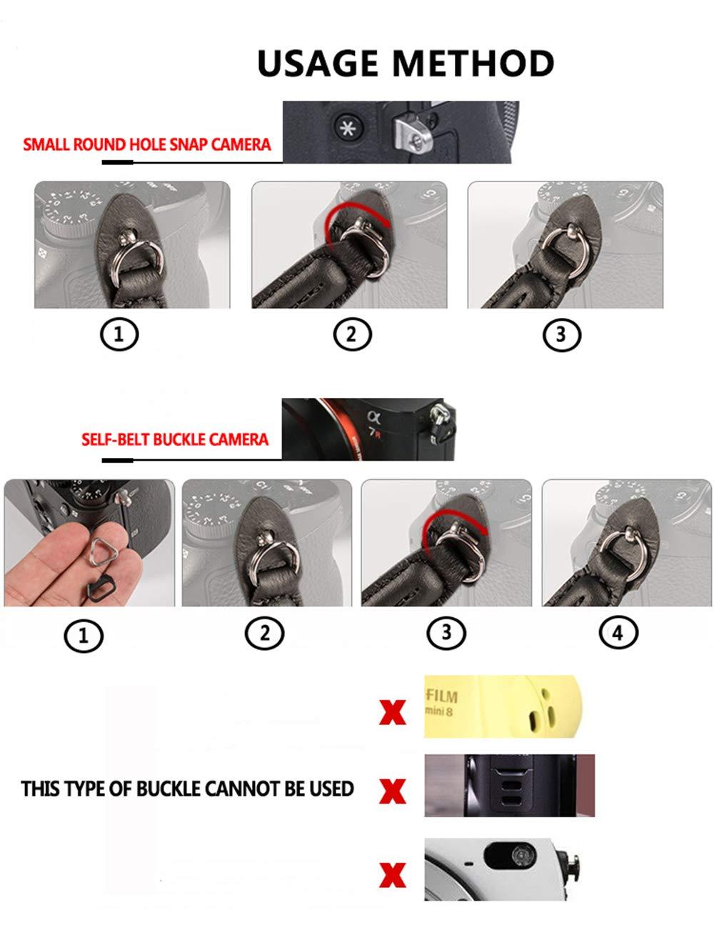 Universal Correa de la Camara hecho a mano Algod/ón Hombro Cuello Cintur/ón Correa para Leica Canon Nikon Fuji Olympus Lumix Sony,Negro.