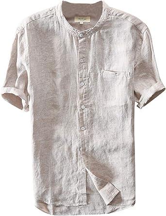 Camisa De Lino para Hombre Basicas Casual Manga Corta con Cuello Mao: Amazon.es: Ropa y accesorios