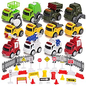 Best Epic Trends 61XfUZJcqmL._SS300_ 12 Pcs Diecast Friction Powered City Hero Play Vehicle Car Toys with 12 Traffic Road Signs, 4 Construction, 2 Fire…