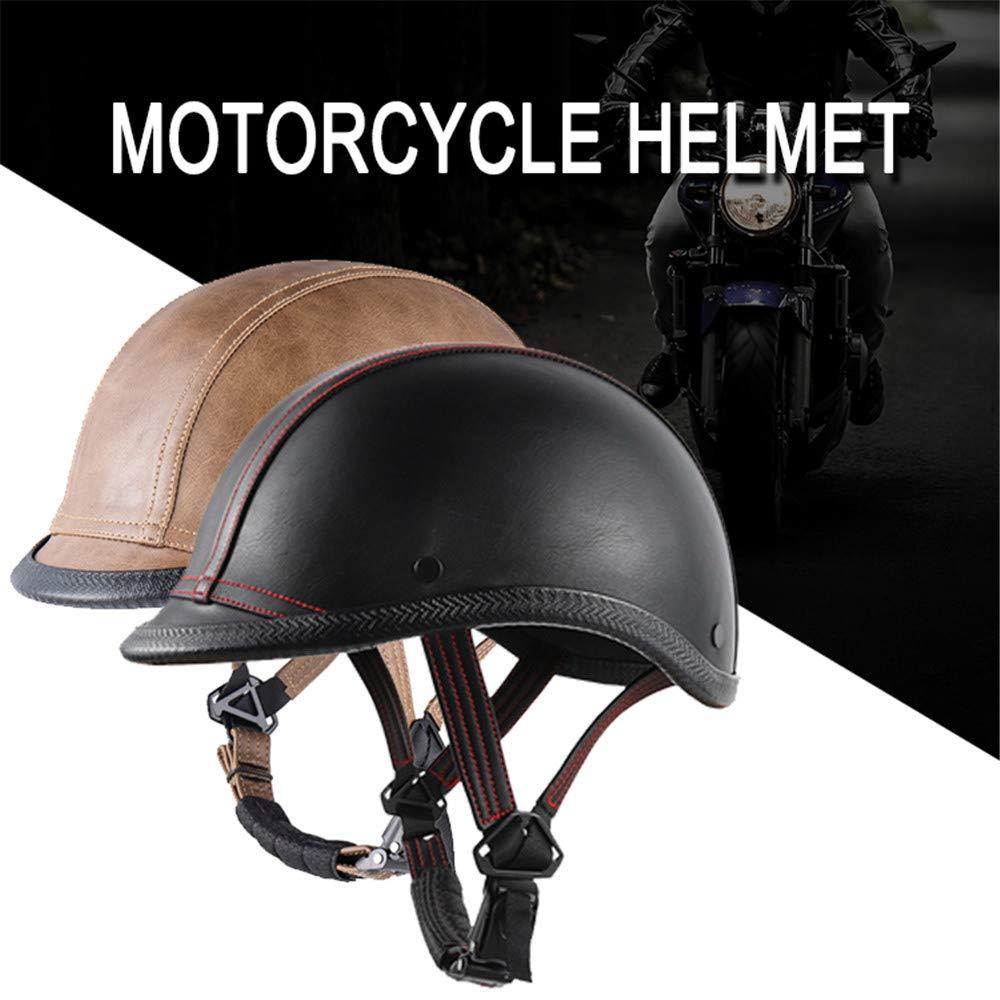 WOSAWE Motorradhelm Retro Jethelme M/änner Frauen Leder Halb-Helm f/ür Fahrrad Motorrad Cruiser Roller Bronze