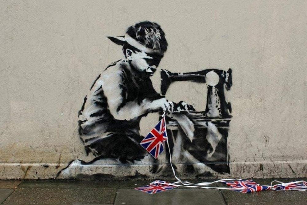 Poster De Impresion De Arte Pintura De Lona Cuadro De Pared,Banksy Poster Boy Máquina De Coser Graffiti Wall Pintura En Tela,Arte Abstracto Imprime Carteles Cuadros De Pared De Salón Restaurante D
