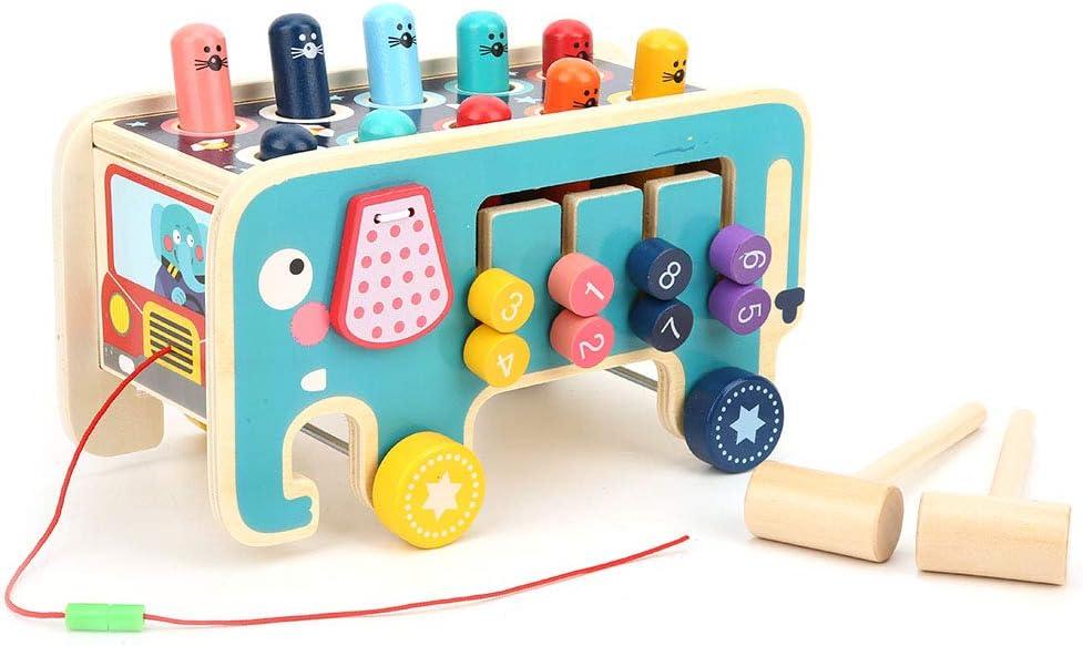 juguetes Montessori para ni/ños peque/ños que aprenden habilidades motoras finas juguetes de martillo de madera con 2 mazos Juguetes de martillo de madera banco de golpes