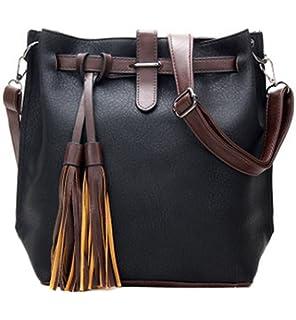 aa6ace847ea82 Womens Leather Crossbody Purse Fashion Small Shoulder Bucket Bag Casual  Travel Messenger Handbag with Tassel