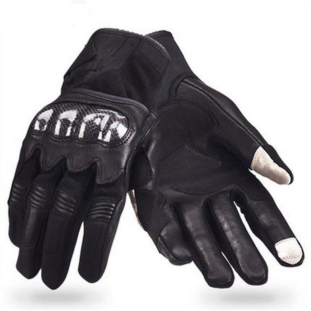 QARYYQ Anti-Kollisions-Reiten-Touchscreen-Handschuhe Kohlefaserhandschuhe, Schwarz Handschuh (größe   M)