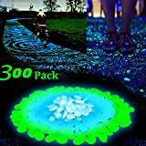 300 Pcs Glow in the Dark Garden Pebbles Stone,Decorative Garden Pebble for Outdoor Walkways Yard Aquarium Gravel Fish Tank Garden Driveway(Green White Blue)