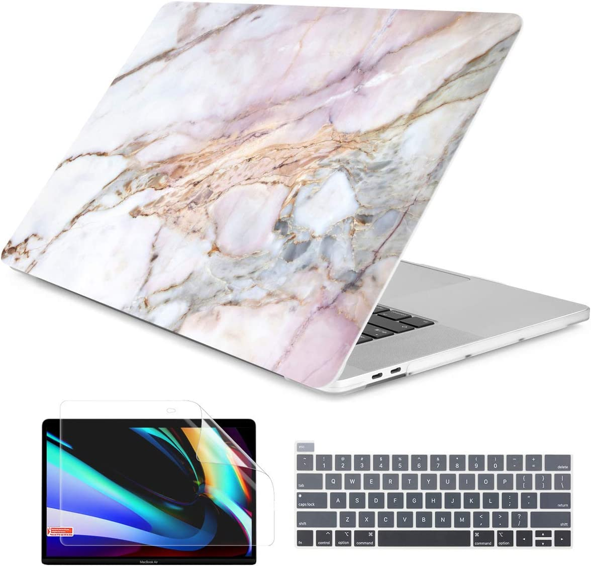 Dongke MacBook Pro 13 inch Case Model A2251/A2289 2020 Released, Plastic Hard Shell Case Cover for MacBook Pro 13 inch with Retina Display & Touch Bar Fits Touch ID (Marble X184)
