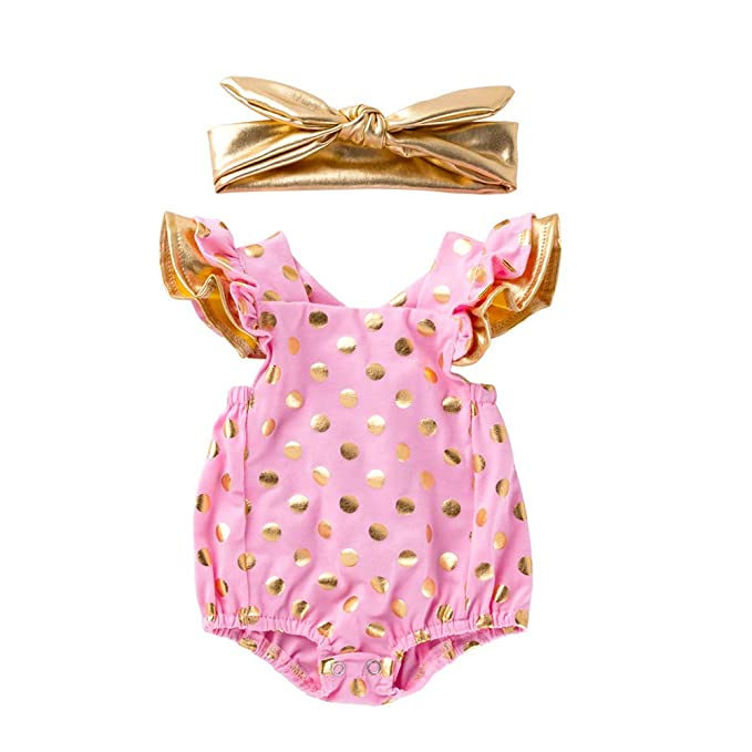 Flower Headband Younger Tree Infant Newborn Baby Girls Romper Bodysuit Clothes Jumpsuit Summer Clothes