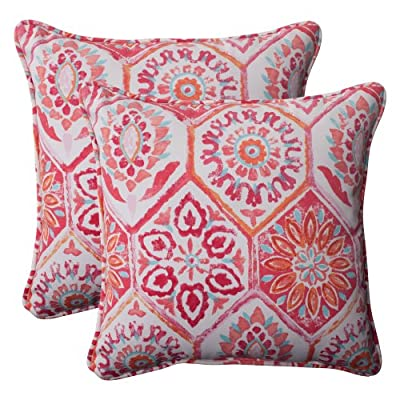 Pillow Perfect Outdoor Summer Breeze Corded Throw Pillow, 18.5-Inch, Flame, Set of 2 - Includes two (2) outdoor pillows, resists weather and fading in sunlight; Suitable for indoor and outdoor use Plush Fill - 100-percent polyester fiber filling Edges of outdoor pillows are trimmed with matching fabric and cord to sit perfectly on your outdoor patio furniture - living-room-soft-furnishings, living-room, decorative-pillows - 61XfX8QgUmL. SS400  -