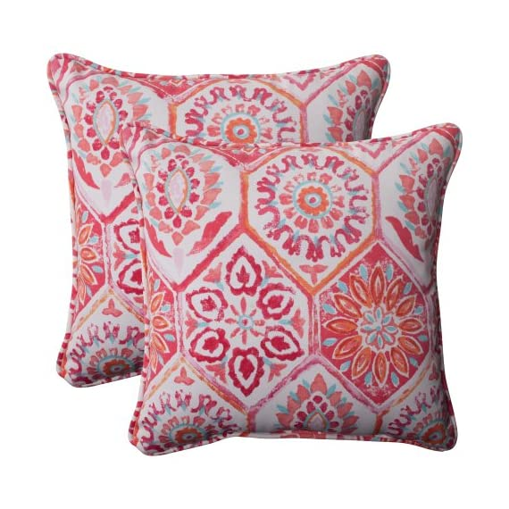 Pillow Perfect Outdoor Summer Breeze Corded Throw Pillow, 18.5-Inch, Flame, Set of 2,Pink|orange|turquoise|white - Includes two (2) outdoor pillows, resists weather and fading in sunlight; Suitable for indoor and outdoor use Plush Fill - 100-percent polyester fiber filling Edges of outdoor pillows are trimmed with matching fabric and cord to sit perfectly on your outdoor patio furniture - living-room-soft-furnishings, living-room, decorative-pillows - 61XfX8QgUmL. SS570  -