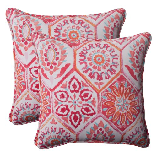 Pillow Perfect Outdoor Summer Breeze Corded Throw Pillow, 18.5-Inch, Flame, Set of 2 ()