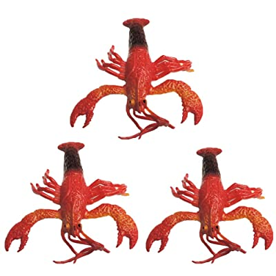 3 Pack Rubber Squishy Crawfish Crawdad Crayfish Mudbug Lobster: Toys & Games