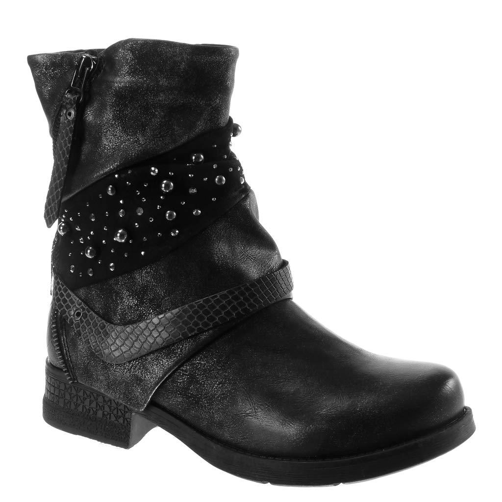 Angkorly - Damen Damen - Schuhe Stiefeletten - Biker - bi-Material - Classic - Perle - Schlangenhaut - Reißverschluss Blockabsatz 3.5 cm Schwarz a0c935