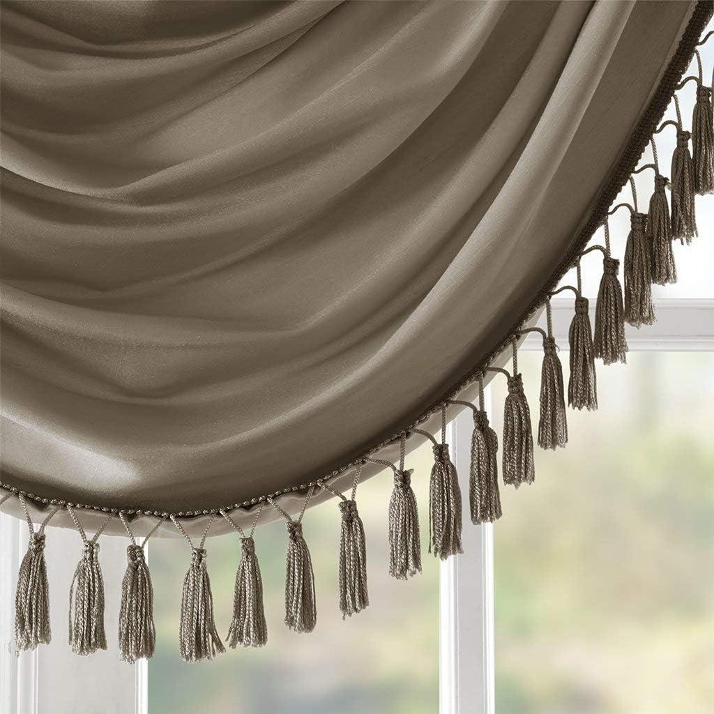 Bronze 38X46 Elena Waterfall Embellished Rod Pocket Valance Faux Silk Valances for Window
