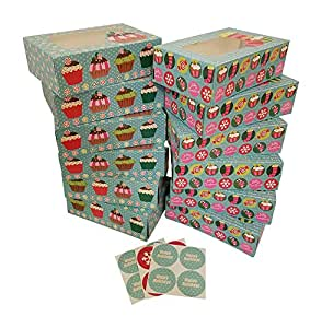 Christmas Cookie gift boxes; rectangular with clear window; colorful paperboard with holiday designs; set of 12 with 12 stickers for sealing (Blue Cupcake)