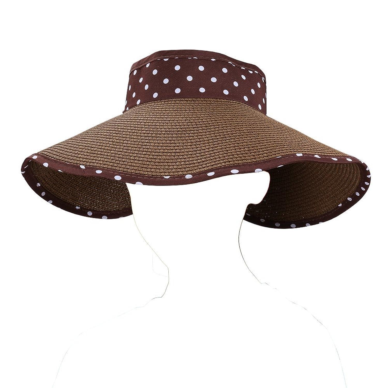 Roll up Dot Foldable Lady s Sun Hat Wide Brim Sun Block Visor Travel Panama  Hats d19dd964aa5b